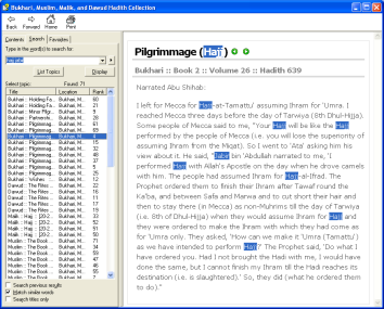 Bukhari, Muslim, Malik, and Dawud Hadith Collection (English) Software